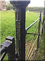 SP2368 : Cast iron gate post, Haseley parish churchyard, Firs Lane by Robin Stott