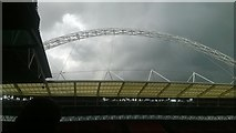 TQ1985 : Wembley Stadium: the arch from within the ground by Christopher Hilton