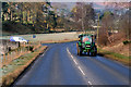 NT2040 : Tractor on the A72 near Hallyne by David Dixon