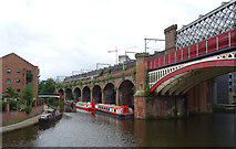 SJ8297 : The Bridgewater Canal and the railway leaving Castlefield Basin by habiloid