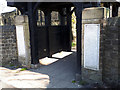 SE1835 : Church of St Luke, Eccleshill - lych gate memorial tablets by Stephen Craven