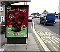 ST3090 : Outdated advert on a Malpas Road bus shelter, Newport by Jaggery