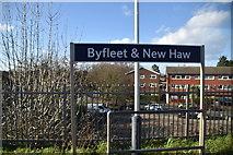 TQ0562 : Byfleet & New Haw Station sign by N Chadwick