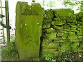 SE2132 : Stone gatepost on Tyersal Lane by Stephen Craven