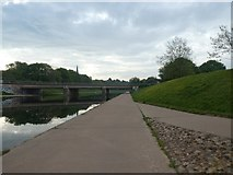 SX9192 : Railway bridge over Exeter flood relief channel, upstream of Exe Bridges by David Smith
