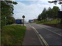 SX9392 : Entrance road to RD&E hospital, Exeter from Heavitree by David Smith