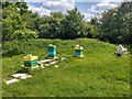 SU7224 : Colourful beehives below Soal Farm by Martyn Pattison