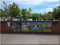 SX9392 : School welcoming mural, St Michael's School, Heavitree, Exeter by David Smith