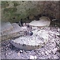 SK5110 : Original mill stones inside Ulverscroft Mill by Mat Fascione