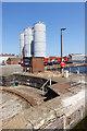 SE7423 : Silos overlooking Stanhope Dock by Trevor Littlewood