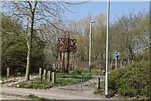 TQ5942 : Sculptures by Dowding Way by N Chadwick