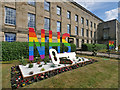 SD8010 : Rainbow Tribute to the NHS Outside Bury Town Hall by David Dixon