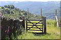 ST2296 : Bridleway gate on corner boundary of quarry by M J Roscoe
