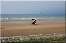 NO3901 : Microlight aircraft at Leven beach by Bill Kasman