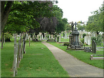 TQ6473 : Path in Gravesend Cemetery by Robin Webster
