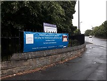 NZ2568 : Advertising banner, Gosforth Parish Church, Newcastle upon Tyne by Graham Robson