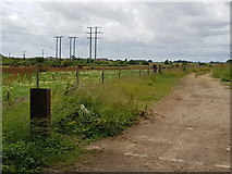 SU9201 : Track to solar farm and power lines by Jeff Gogarty