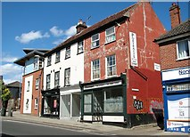 TG2309 : Shops and flats at the northern end of Magdalen Street by Evelyn Simak