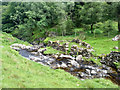 NY2919 : Ruined sheepfold, Shoulthwaite Gill by Mick Garratt