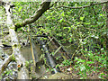 SE2839 : Pipe across the Adel Beck in Adel Woods by Stephen Craven