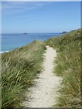 SW3526 : The coast path across the dunes above Sennen beach by Rod Allday