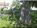 ST5233 : Butleigh village green and millennium stone by Neil Owen