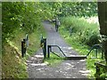 NZ2058 : Horse stile on footpath near Sunniside Station by Oliver Dixon