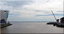 TA1028 : The River Hull joining The Humber, seen from The Millennium Bridge by habiloid
