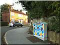 SE2535 : Utility cabinet painted with geometric shape, Broadlea Crescent by Stephen Craven
