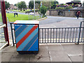 SE2435 : Striped utility cabinet at Bramley bus station by Stephen Craven