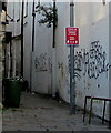 ST3188 : Keep apart notice in a narrow lane, Newport city centre by Jaggery