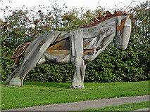 SJ6352 : Horse sculpture near Nantwich Basin in Cheshire by Roger  Kidd