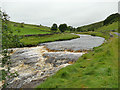SD8979 : The Wharfe at Deepdale, looking upstream by Stephen Craven