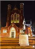 SU6300 : Statue & Cathedral Church of St John the Evangelist by N Chadwick