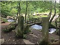 SK2579 : Old gateposts by a new footbridge by Graham Hogg