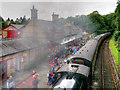 SD3484 : Steam Train at Haverthwaite Station by David Dixon