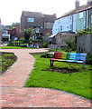 SO8005 : Rainbow bench, Old Chapel Garden, Stonehouse, Gloucestershire by Jaggery