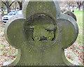 TM5393 : Headstone of William Sanders R.A,  (detail) by Adrian S Pye