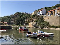NZ7818 : Boats on Staithes Beck by David Robinson