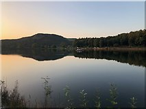 SJ9571 : View over Ridgegate Reservoir towards Tegg's Nose by Philip Cornwall