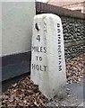 TG0334 : Old Milestone (west face) by the B1110, Dereham Road, Briningham Parish by CW Haines