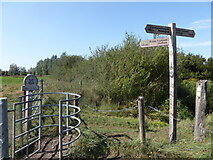 TM0732 : Constable, that's a Gainsborough: sign near Lower Barn Farm by Basher Eyre