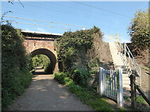 TM0832 : Constable, that's a Gainsborough: railway bridge on the St Edmund's Way by Basher Eyre