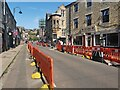 SD9927 : Social distancing measures on Crown Street, Hebden Bridge by Phil Champion