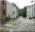 SO2800 : Warning sign - road narrows, Trosnant Street, Pontypool by Jaggery