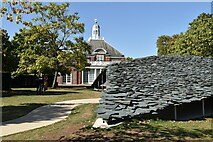 TQ2679 : Slate sculpture and Serpentine Gallery by N Chadwick