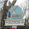 TG3823 : Sutton village sign by Adrian S Pye