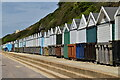 SZ1391 : Beach huts by N Chadwick