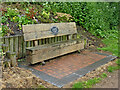 SO8583 : Canalside bench seat near Dunsley in Staffordshire by Roger  Kidd