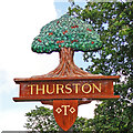 TL9265 : Thurston village sign - detail by Adrian S Pye